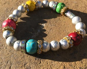 Silver with multicolor beaded bracelet