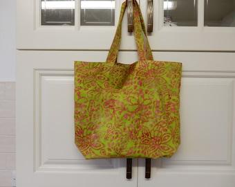 Batik Shopping bag GREEN (tote, tiedie, tie die, carrier, fabric, market)
