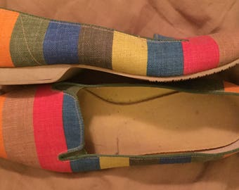 Vintage Canvas Striped Multicolor Oomphies Cloudhoppers Made in USA Size 6 Womens Shoes