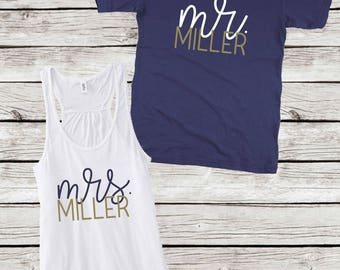 Personalized Mr and Mrs Honeymoon Shirt and Tank, Mr and Mrs Tank and Tee, Honeymoon Shirt and Tank Gift Set