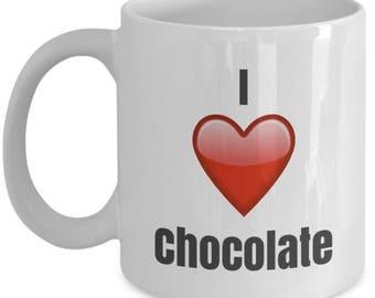 I Love Chocolate, Chocolate Mug, Chocolate Coffee Mug, Chocolate Cup, Chocolate Lover gift, Chocolate Gifts