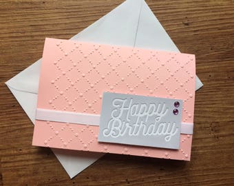 Pink and Purple Sequined 'Happy Birthday' Card