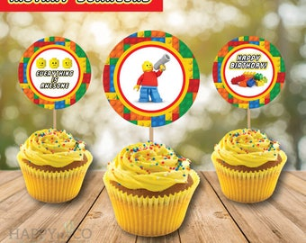DIGITAL Instant Download Lego Cupcake Toppers, Lego Party, 2 INCHES Cupcake Toppers, Lego Toppers