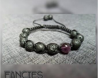 Lava stone bracelet gems Shamballa Mothersday Amethyst gift