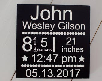 Birth Announcement Sign, Wood Sign Birth Announcement, Personalized Baby Sign, New Baby Announcement / Newborn Birth Stats / Nursery Decor