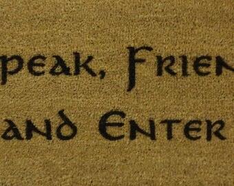 Speak Friend and Enter 70 x 40cm Internal Coir Door Mat, Laser Engraved from JRR Tolkien - Hobbit - Lord of The Rings - Elvish