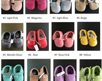 Adorable Baby Moccasins, lots of colors to choose from