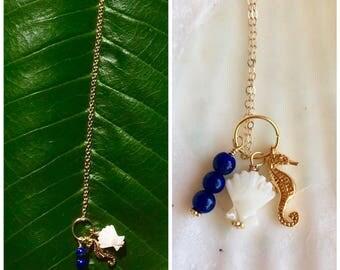 Seahorse charm necklace with lapislazuli