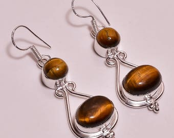 Tiger eye gemstone handmade silver earings 2.2""