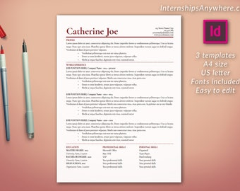 Resume Template Instant Download / Cover Letter Template / References Template / Traditional Style / Multipack / Adobe InDesign / CV Design