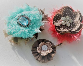 Coral and Teal Flower Hair Clips