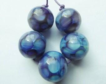 Glass lampwork bead set made with silverglass