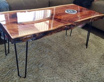 Double live edge cedar coffee table