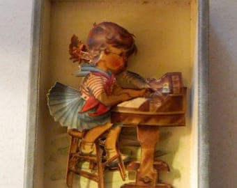 """2 Vintage 3-D Pictures """"Boy At Mailbox"""" & """"Girl At Writing Table"""" Hand Made in 1970's"""