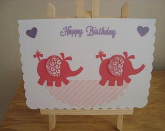 Handmade child's birthday card, Elephant birthday card, Die-cut cards