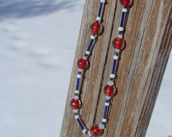 Patriotic Red, White and Blue Beaded Necklace