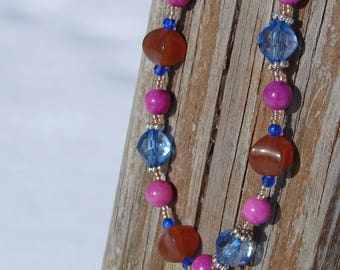 Earthy Brown, Purple and Blue Beaded Necklace