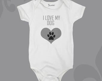 I Love My... Dog/Cat/Pets Customised Bodysuit Onesie Or T-shirt, Cute Gift Idea.