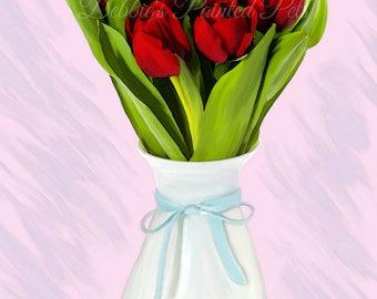 Painted Tulips in Vase - 20x30 print