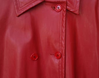 Vintage Full Length Overcoat - Red Vinyl size 16