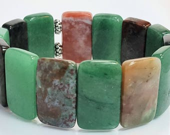 Aventurine and bloodstone gemstone  bracelet