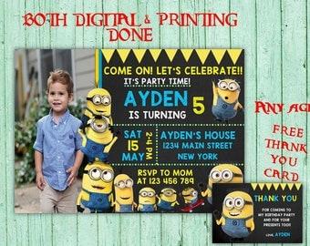 Minions Birthday Invitations Minions Photo Birthday Party Minions Kids Birthday Printable Invitations Minions Printable Birthday Card
