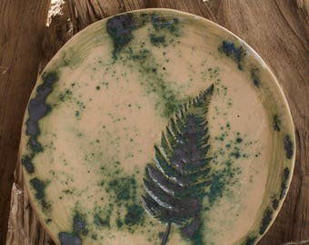 Fern plate, eco plate, fern, ceramic plate , green plate