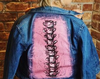 Hand painted spine denim jacket