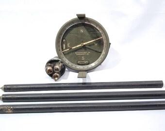 Vintage Brunson Inst Co. Surveyors/Artillery? Military? Compass W/ Tripod