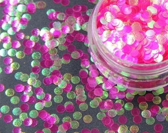 Pink 3mm or 1mm solvent resistant iridescent glitter