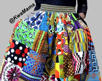 Midi: Ankara Patched Skirt, African Midi patch skirt, Ankara patch skirt, Midi skirt, Summer midi skirt