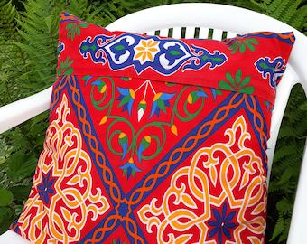 Blue cushion - red cushion - Egyptian Brown cushion - printed khayameya - Arabic cushion - ethnic cushion - pillow in the world - cotton