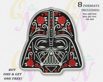 BOGO FREE! Darth Vader Applique Embroidery Design, Star Wars Machine Embroidery Designs, Sugar Skull Embroidery Designs, 3 sizes, #065
