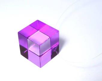 Transparent purple acrylic Cube necklace