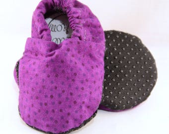 """4"""" Soft-Soled Baby Shoes - Purple Specks - Adjustable Ankles - Non-Slip Soles"""