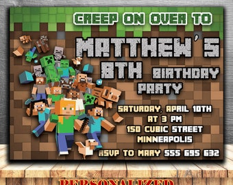 MINECRAFT BIRTHDAY INVITATION,Minecraft Invitations,Minecraft birthday party invites,Minecraft party supplies,printables,personalized invite
