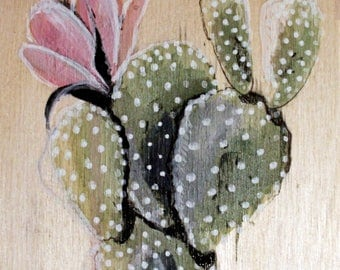 Cactus painted with pink flower