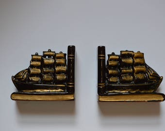 1950s Black and Gold Sailing Ship Bookends