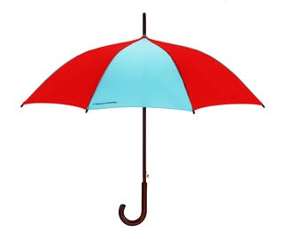 Wandsworth by Preppy Umbrella Blue & Yellow Bright Wooden Handle Brolly