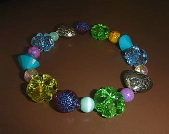 Chunky Plastic Bead Bracelet - claspless