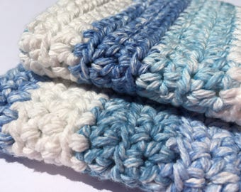 Set of 2 Washcloths in Blue Stripe // Housewarming Gift // Kitchen & Bath