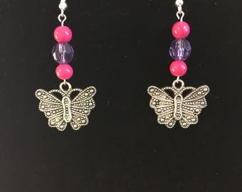 Butterfly earrings, pink and purple butterfly earrings, silver butterfly charm earrings, nickel free,