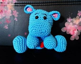 Crochet plush hippo
