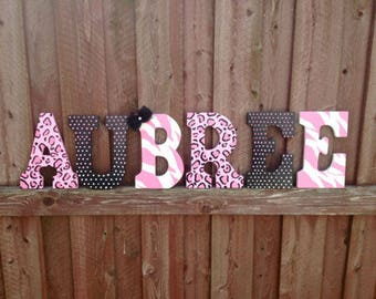 Pink cheeah zebra polka dot wall letters