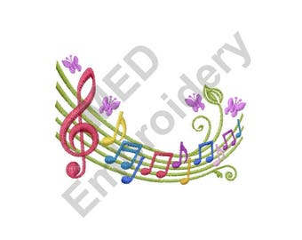 Music Notes - Machine Embroidery Design, Butterfly Music Notes