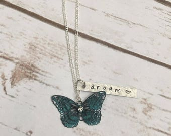 Butterfly Charm Necklace - Personalized- Dream - Hand Stamped - Sterling Silver