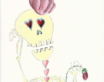Skeleton with Flower Hat
