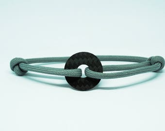 Grey bracelet & carbon I size adjustable I unisex I carbon I black I bracelet I.