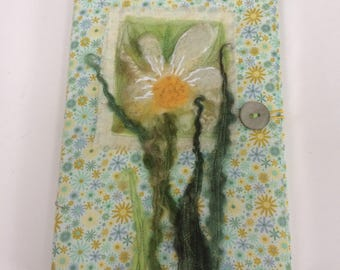 Daisy Textile Journal cover, felted art appliqué , A5 notebook, planner, handmade journal cover
