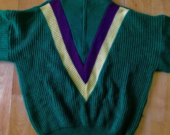 Vintage French 80s pullover by All Right Horizon IV. Size 3 / L-XL in green, plum and yellow